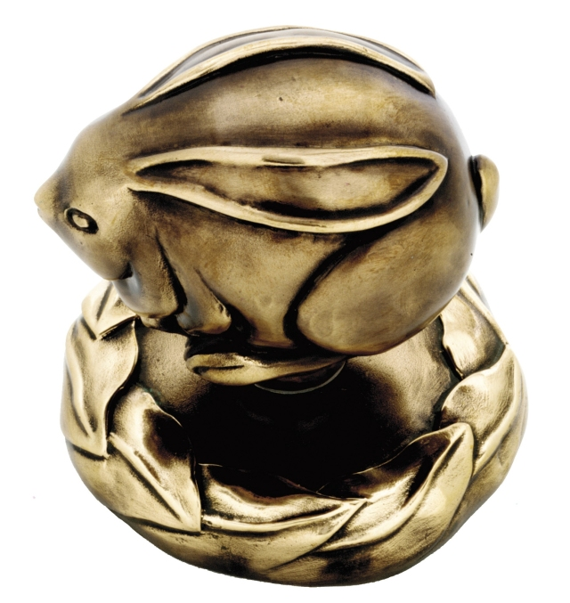 Bunny doorknob in bronze from Martin Pierce custom hardware collection