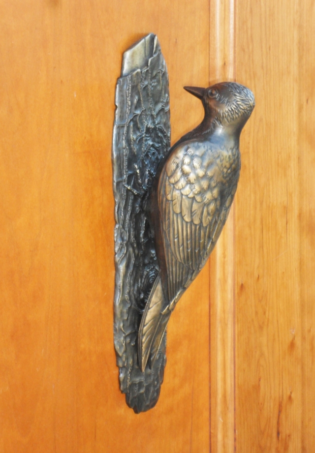 custom woodpecker door knocker by Martin Pierce custom hardware
