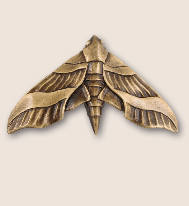 A beautifully detailed moth door or drawer pull from Martin Pierce Animal Collection of Hardware Los Angeles Ca  90016