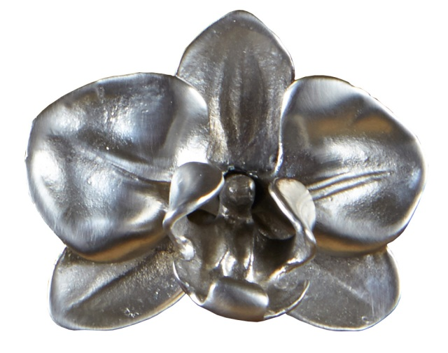 Silver plated orchid knob from Martin Pierce Custom Hardware