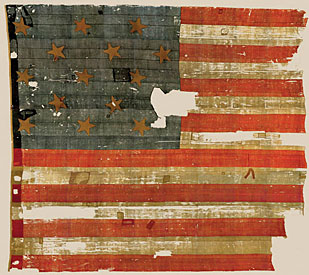 The original Stars & Stripes on display at the Smithsonian Museum