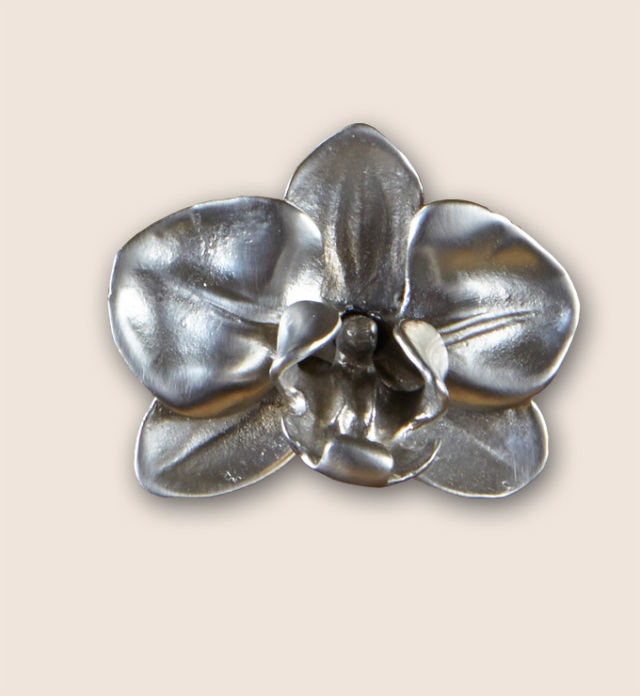 Silver plated orchid knob from Martin Pierce Hardware Los Angeles CA  90016