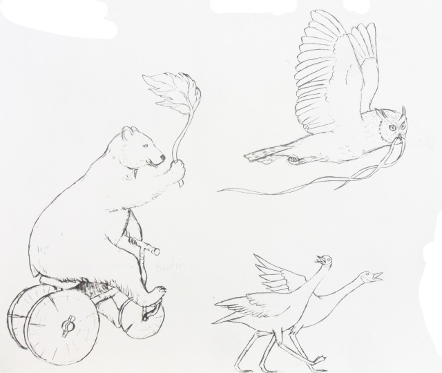 Beatrix Bear, Oly Owl and squawking geese by Martin Pierce Hardware
