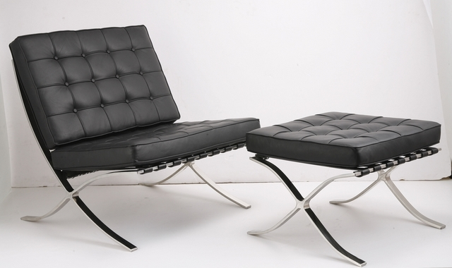 Barcelona chair and ottoman designed by Mies van der Rohe
