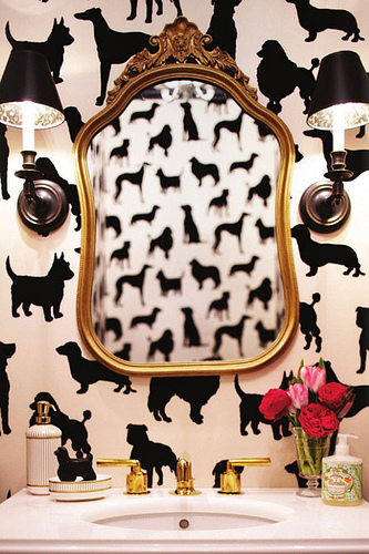 Sophisticated black and white dog motif wallpaper from Osbourne & Little