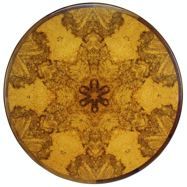 Hedgerow tabletop starburst design crafted of burl wood veneers by Martin Pierce custom Hardware