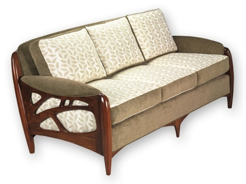Morphic sofa designed for Pollack and crafted of mahogany by Martin Pierce