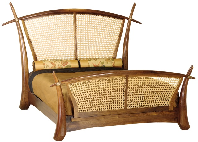 hand-carved wood and rattan Rickshaw bed  by Martin Pierce Custom
