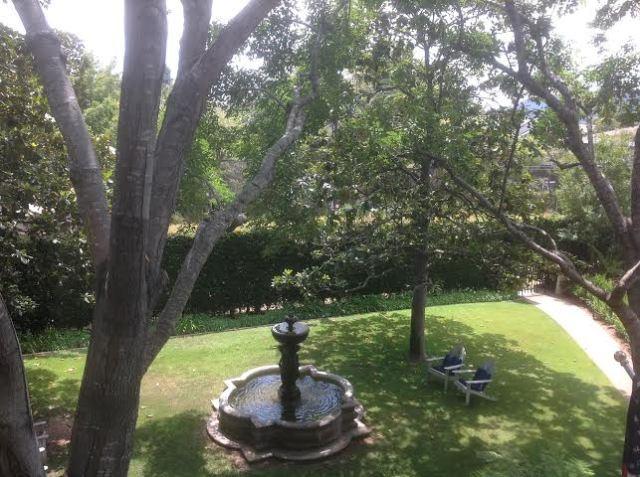 Fountain turned birdbath in the formal gardens of Simpson House Inn by Martin Pierce Hardware