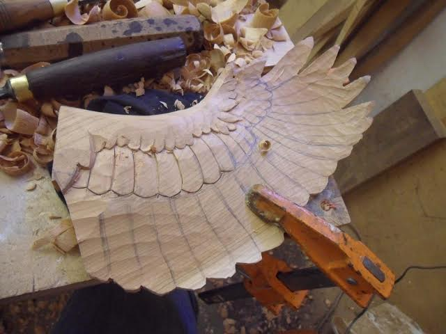 early carving of the Jay's wing Martin Pierce Hardware