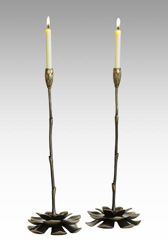 Solid bronze candlesticks with tapers from Martin Pierce Hardware Los Angeles Ca  90016