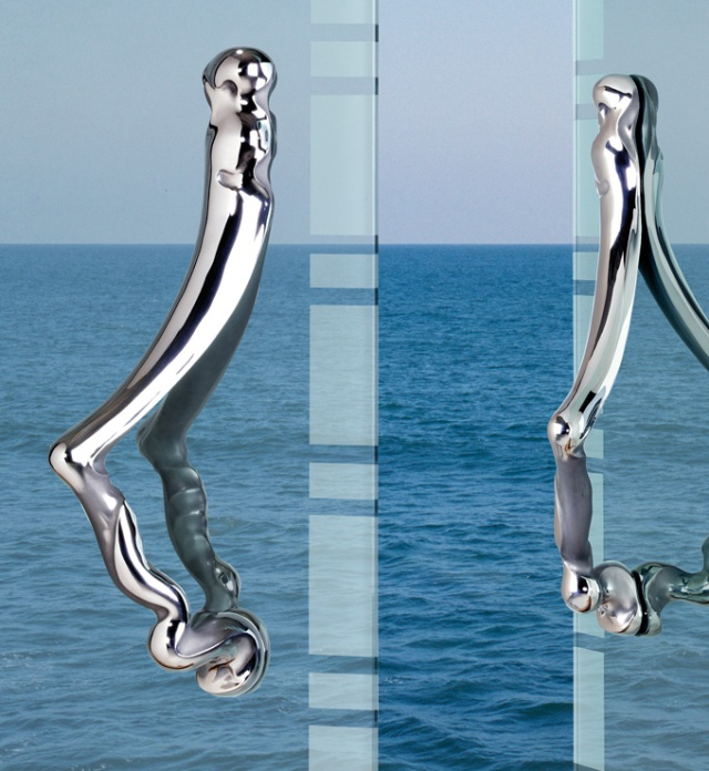 Stainless steel door handle from the Ergo collection at Martin Pierce Hardware Los Angeles Ca  90016 Photo Doug Hill